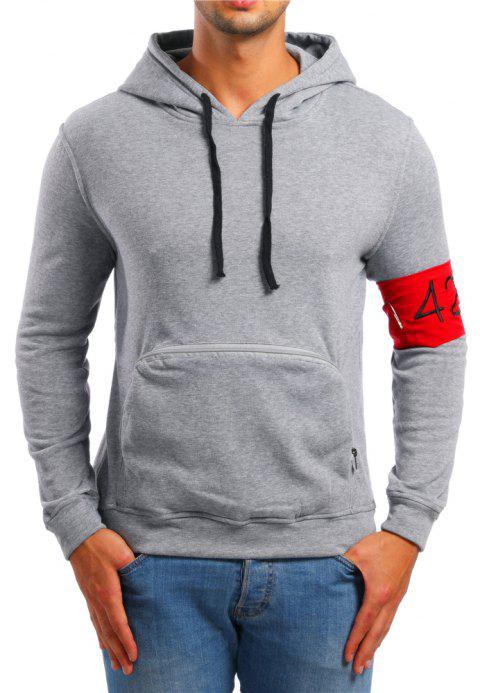 Men's Casual Digital Embroidered Long Sleeve Hoodie - LIGHT GRAY XL