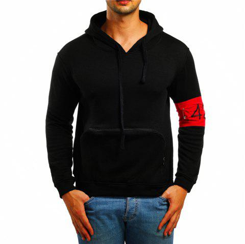Men's Casual Digital Embroidered Long Sleeve Hoodie - BLACK L
