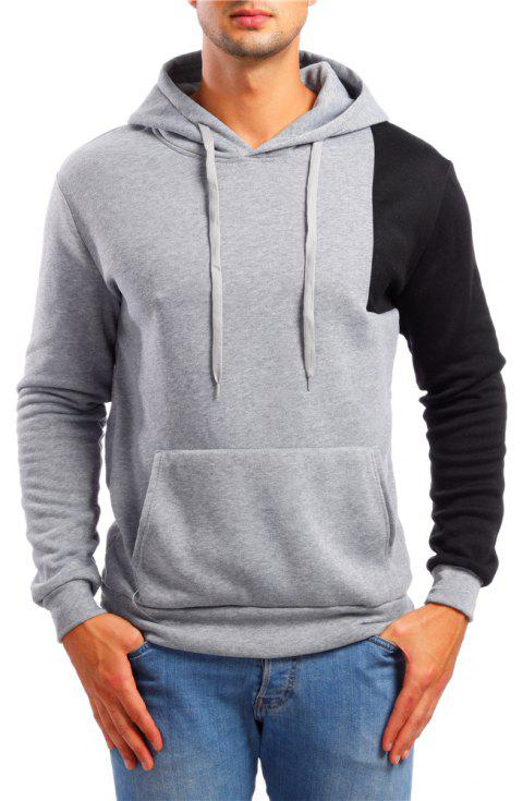 Men's Casual Colorblock Long Sleeve Hoodie - LIGHT GRAY L