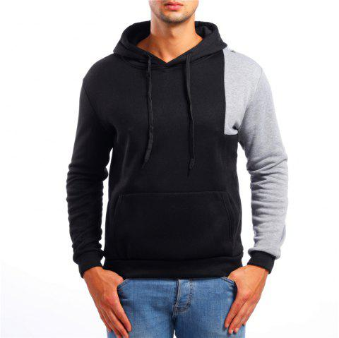 Men's Casual Colorblock Long Sleeve Hoodie - BLACK M
