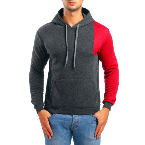 Men's Casual Colorblock Long Sleeve Hoodie - DARK GRAY XL