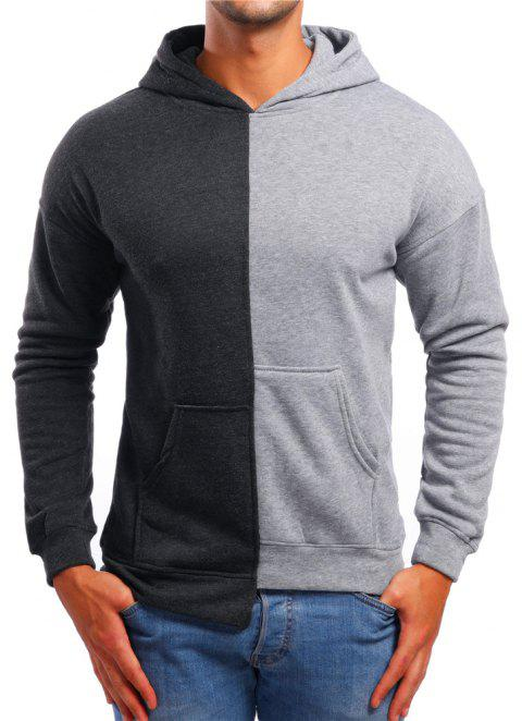Men's Casual Asymmetric Colorblock Hoodie - LIGHT GRAY L
