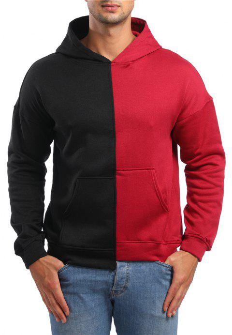 Men's Casual Asymmetric Colorblock Hoodie - RED 2XL