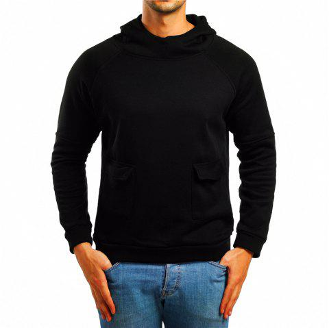 Men's Pocket Solid Color Raglan Sleeve Hoodie - BLACK L
