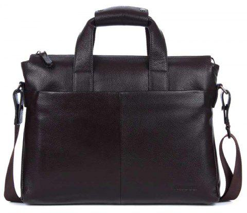 DANJUE Genuine Leather Men Business Briefcase Real Leather Laptop Bag - COFFEE