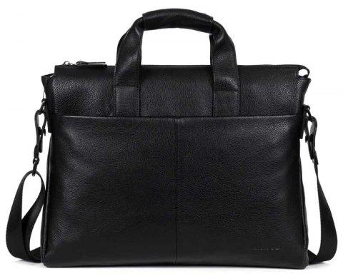 DANJUE Genuine Leather Men Business Briefcase Real Leather Laptop Bag - BLACK
