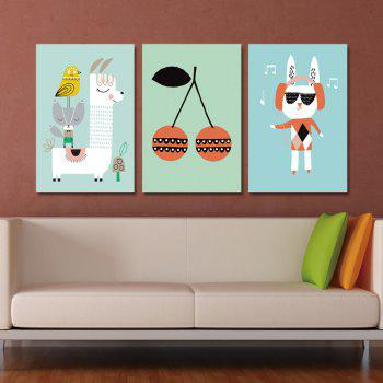 DYC 3PCS Lovely Animals Fruits Print Art - multicolor
