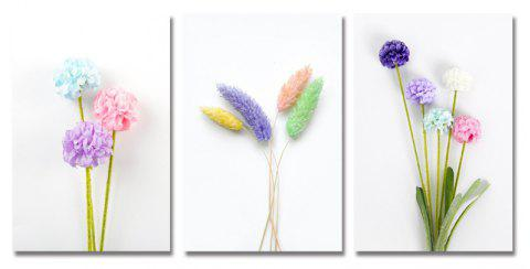 DYC 3PCS Handmade Flowers Print Art - multicolor