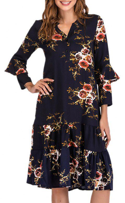 V Long Sleeve Printed Pleated Mid Length Dress - DARK SLATE BLUE L