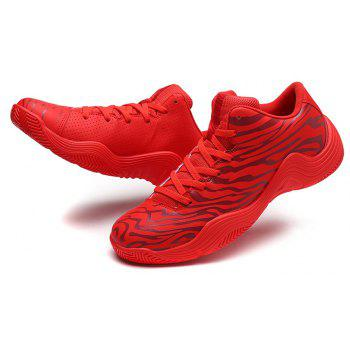 Tiger Stripped Stylish Plus Size Light Convenient Basketball Shoes - RED EU 45