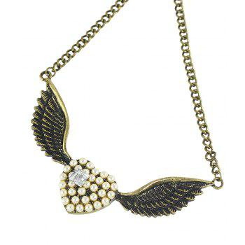 Fashion Cute Full Rhinestone Heart Wing Pendant Necklace - multicolor
