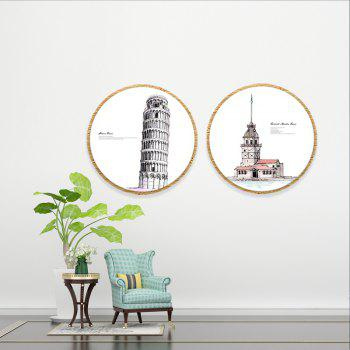 2PCS W587 European and American Architectural Patterns Frameless Spray Painting - multicolor 50CMX50CMX2PCS