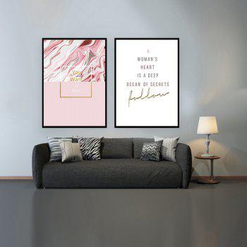 2PCS W619 Sweet English Proverb Frameless Painting - multicolor 25CMX35CMX2PCS