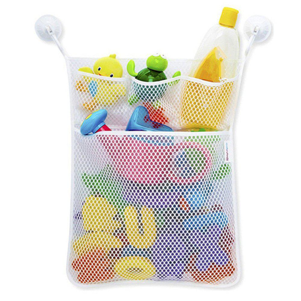 Bath Toy Organizer Folding Hanging Container Mesh Net Storage Bag and Hooks - WHITE