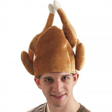 Funny Adults Hat Thanksgiving Day Roasted Turkey  Cute Party Festival Caps - BROWN