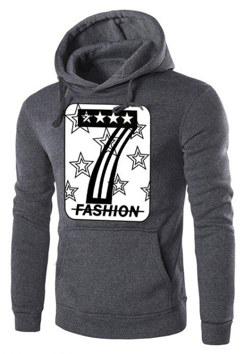 Men's Letter Print Hooded Long Sleeve  Sweater - DARK GRAY 3XL