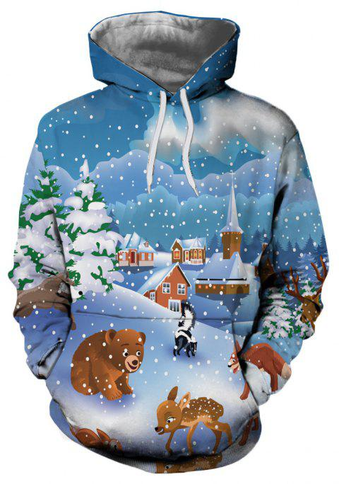 Christmas Snow Cartoon Print Men's Hoodie Sweater - multicolor XL