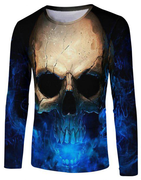Men's New Blu-ray Personality Trend 3D Print Long Sleeve T-shirt - multicolor B M