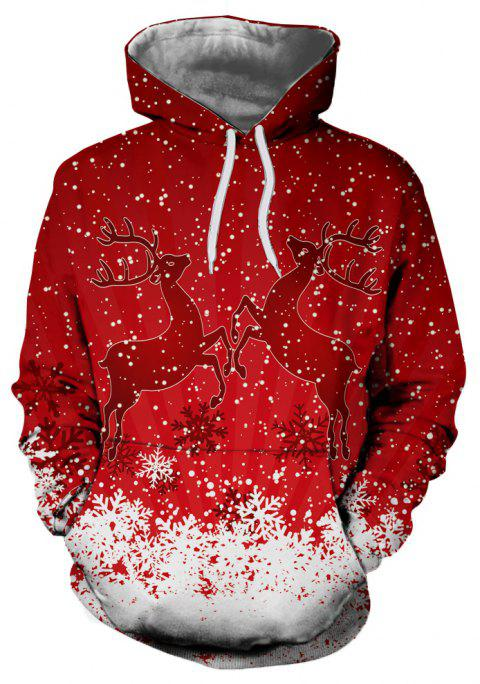 Men's New Christmas Deer 3D Digital Print Long Sleeve Hoodie Sweater - RED S