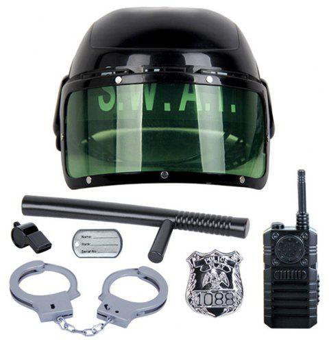 Creative Funny Kids Toys Riot Police Chapeau Cosplay 7 PCS - Noir
