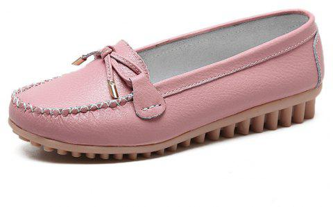 Womens Fashion Casual Light Weight Leather Loafers Shoes - PINK EU 37