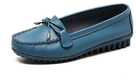 Womens Fashion Casual Light Weight Leather Loafers Shoes - BLUE IVY EU 35