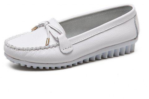 Womens Fashion Casual Light Weight Leather Loafers Shoes - WHITE EU 37