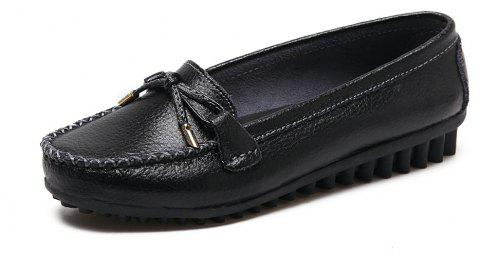 Womens Fashion Casual Light Weight Leather Loafers Shoes - BLACK EU 36