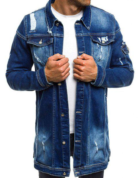 Long Men's Holes Beggar Jackets - CADETBLUE 2XL
