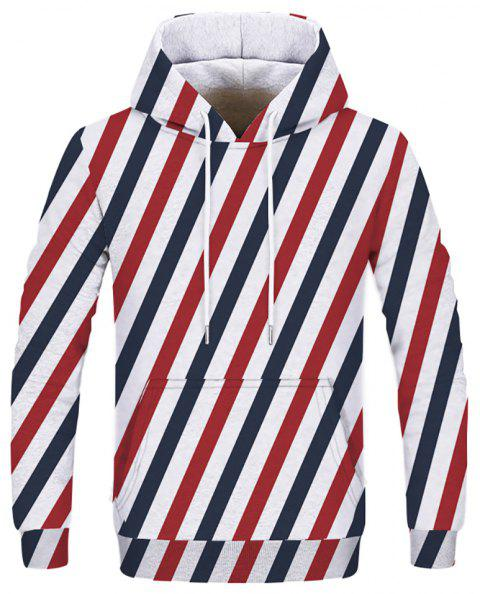 New Striped Plaid Fashion Double Hooded Sweatshirt - multicolor E XS