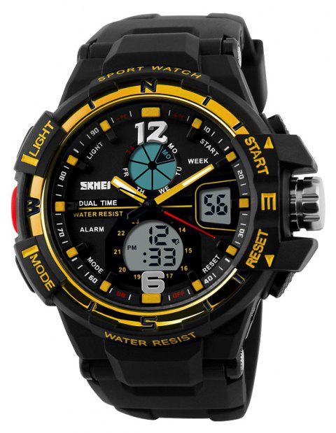 SKMEI Men Digital Waterproof Chronograph Sports Fashion Quartz Wrist Watch - YELLOW