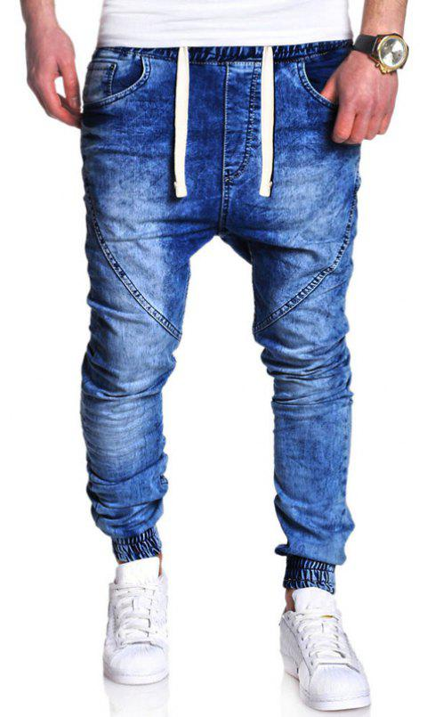 Men's Fashion Casual Loose Jeans - BLUE 2XL