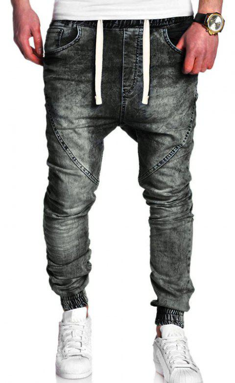 Men's Fashion Casual Loose Jeans - BLACK L