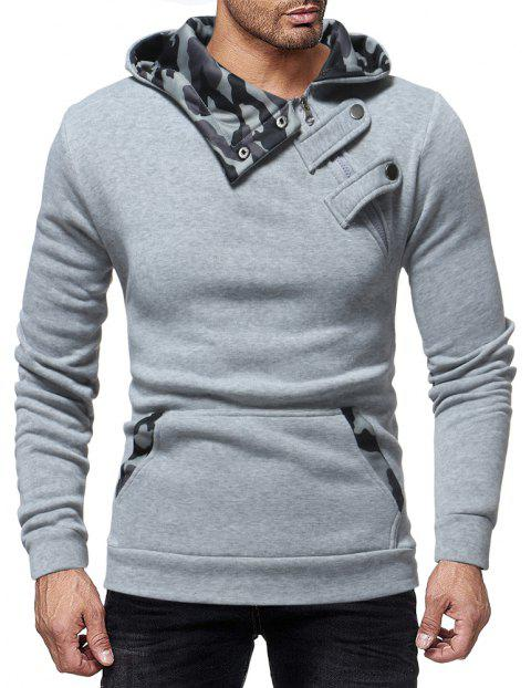 Court Buckle Men's Camouflage Color Matching Casual Hooded Pullover Sweater - LIGHT GRAY 2XL
