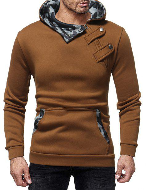Court Buckle Men's Camouflage Color Matching Casual Hooded Pullover Sweater - LIGHT BROWN M