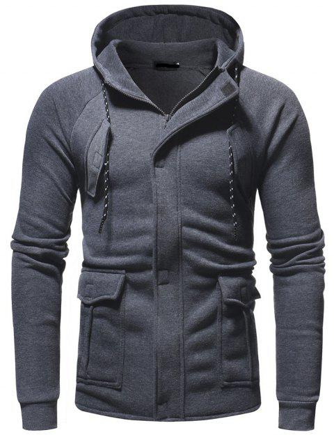 Men's Fashion Three-Dimensional Multi-pocket Casual Slim Hooded Sweater - DARK GRAY 3XL