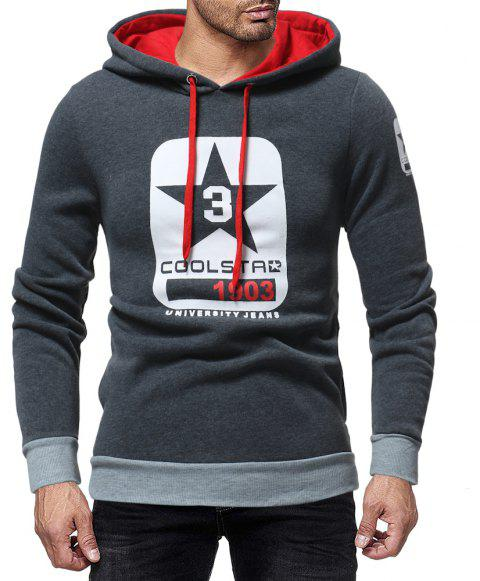 Men's Fashion Letter Print Contrast Hooded Long Sleeve Casual Turtleneck Sweater - DARK GRAY L