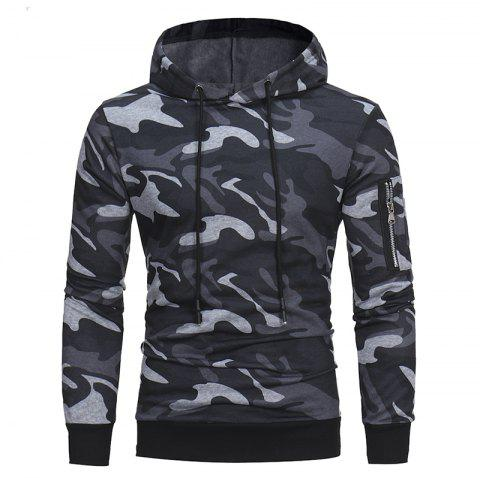2018 Classic Camouflage Casual Men's Hooded Turtleneck Sweater - LIGHT GRAY L