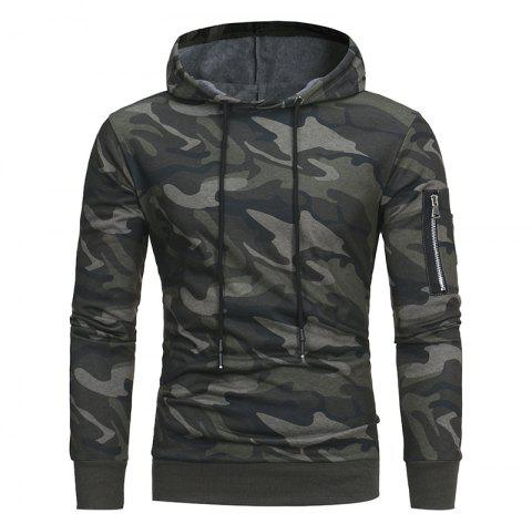 2018 Classic Camouflage Casual Men's Hooded Turtleneck Sweater - ARMY GREEN 3XL