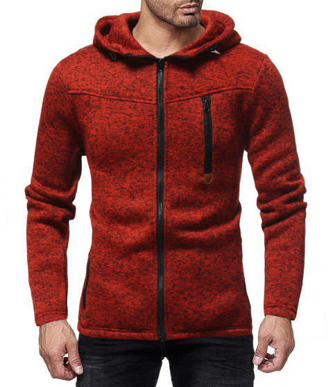Men's Fashion Multi-zip Solid Color Long-sleeved Hooded Casual Sweater - RED XL
