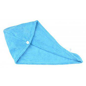 Quickly Dry Hair Hat Microfiber Solid Hair Turban - CRYSTAL BLUE