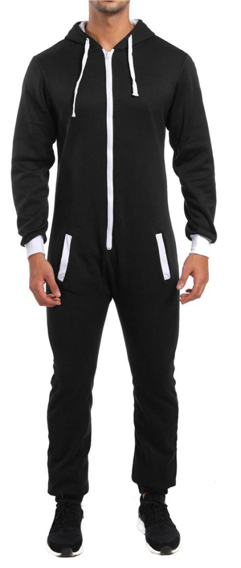 Men's Colorblock Casual Zipper Jumpsuit Hoodie - BLACK 2XL