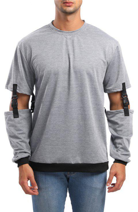 Men's Casual Round Neck Detachable Sleeve Sweatshirt - LIGHT GRAY M