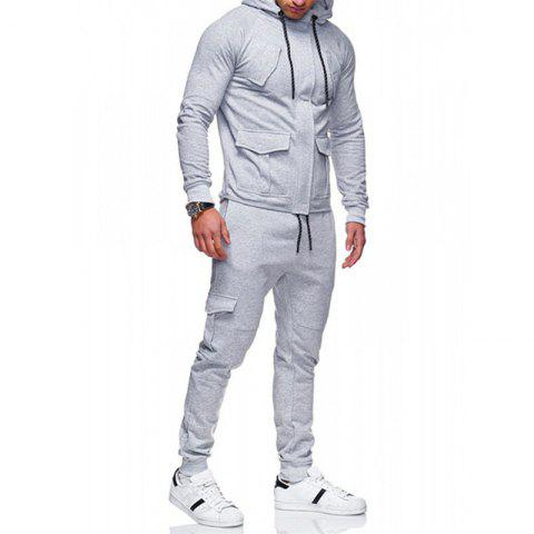 Men's Casual Solid Color Slim Sports Suit - LIGHT GRAY XL
