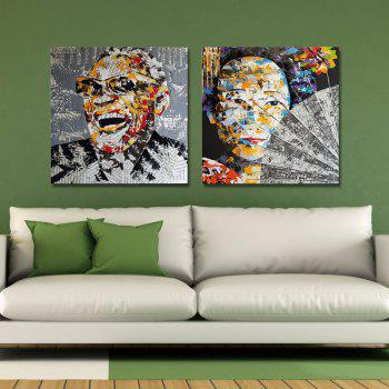 DYC 2PCS Caractère Abstraction Art Print - multicolor