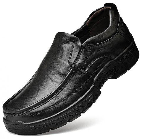 Men'S Black Leather Shoes with Thick Bottom and Wide Head - JET BLACK EU 42