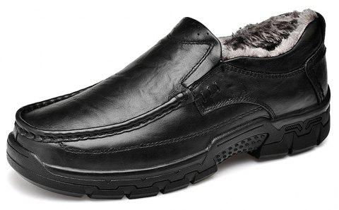 Men'S Black Leather Shoes with Thick Bottom and Wide Head - CARBON FIBER BLACK EU 43