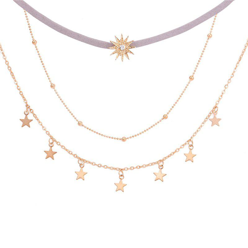 Simple Five Pointed Star With Three Layers of Necklace Sunflower - GOLD