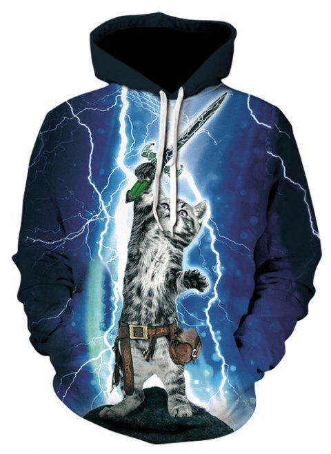 Cat 3D Print Men's Sweater Coat Black and White Casual Graphic T-shirt Hoodies - multicolor XL