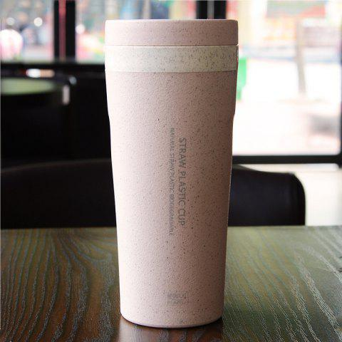300ML Double-Layer Sealed Large Mouth Wheat Coffee Cup - PINK